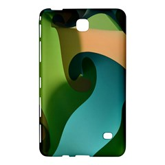Ribbons Of Blue Aqua Green And Orange Woven Into A Curved Shape Form This Background Samsung Galaxy Tab 4 (8 ) Hardshell Case