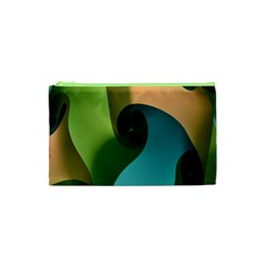 Ribbons Of Blue Aqua Green And Orange Woven Into A Curved Shape Form This Background Cosmetic Bag (xs)