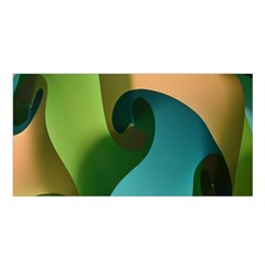 Ribbons Of Blue Aqua Green And Orange Woven Into A Curved Shape Form This Background Satin Shawl
