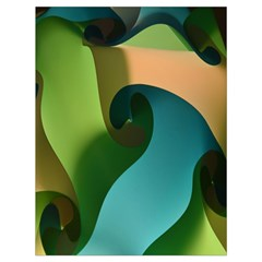 Ribbons Of Blue Aqua Green And Orange Woven Into A Curved Shape Form This Background Drawstring Bag (Large)