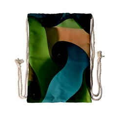 Ribbons Of Blue Aqua Green And Orange Woven Into A Curved Shape Form This Background Drawstring Bag (Small)