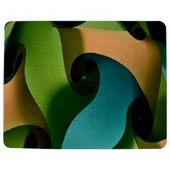 Ribbons Of Blue Aqua Green And Orange Woven Into A Curved Shape Form This Background Jigsaw Puzzle Photo Stand (rectangular)