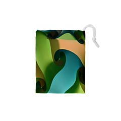 Ribbons Of Blue Aqua Green And Orange Woven Into A Curved Shape Form This Background Drawstring Pouches (xs)