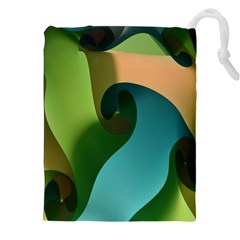 Ribbons Of Blue Aqua Green And Orange Woven Into A Curved Shape Form This Background Drawstring Pouches (xxl)