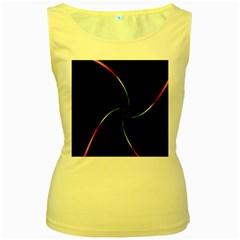 Digital Computer Graphic Women s Yellow Tank Top