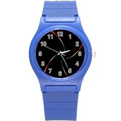 Digital Computer Graphic Round Plastic Sport Watch (S)