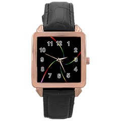 Digital Computer Graphic Rose Gold Leather Watch