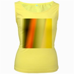 Digitally Created Abstract Colour Blur Background Women s Yellow Tank Top