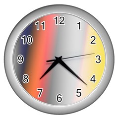Digitally Created Abstract Colour Blur Background Wall Clocks (silver)