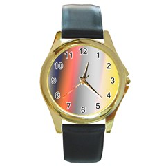 Digitally Created Abstract Colour Blur Background Round Gold Metal Watch