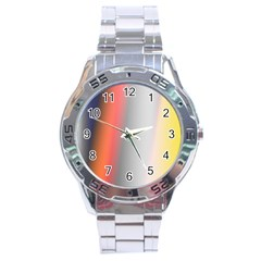 Digitally Created Abstract Colour Blur Background Stainless Steel Analogue Watch