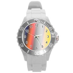 Digitally Created Abstract Colour Blur Background Round Plastic Sport Watch (l)