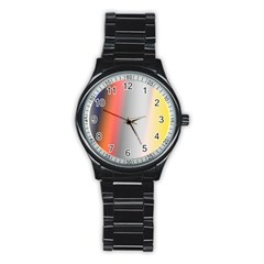 Digitally Created Abstract Colour Blur Background Stainless Steel Round Watch