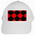 Red Black square Pattern White Cap Front
