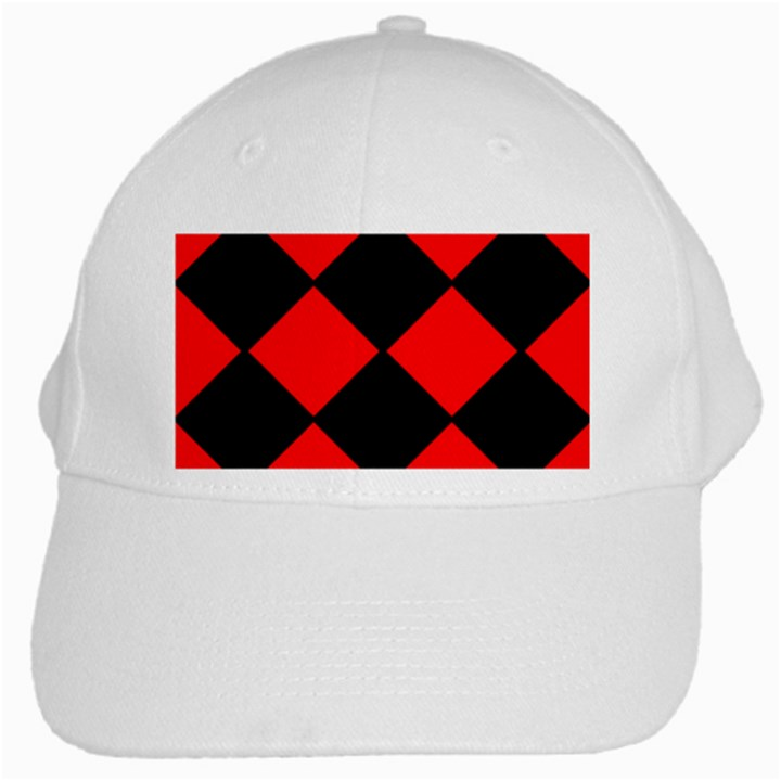 Red Black square Pattern White Cap