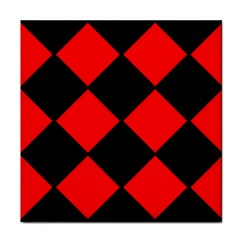 Red Black Square Pattern Tile Coasters