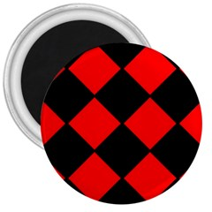 Red Black square Pattern 3  Magnets