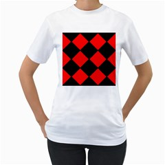 Red Black square Pattern Women s T-Shirt (White) (Two Sided)