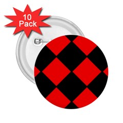Red Black square Pattern 2.25  Buttons (10 pack)