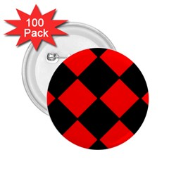 Red Black square Pattern 2.25  Buttons (100 pack)