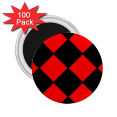 Red Black Square Pattern 2 25  Magnets (100 Pack)