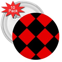Red Black square Pattern 3  Buttons (10 pack)