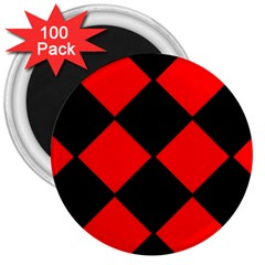 Red Black Square Pattern 3  Magnets (100 Pack)
