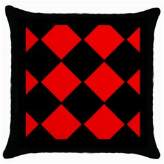 Red Black square Pattern Throw Pillow Case (Black)