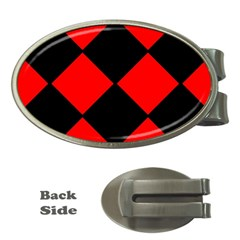 Red Black Square Pattern Money Clips (oval)