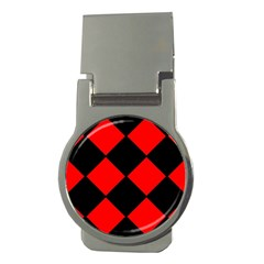 Red Black Square Pattern Money Clips (round)