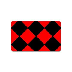 Red Black Square Pattern Magnet (name Card)