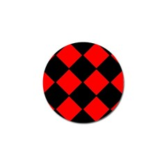 Red Black Square Pattern Golf Ball Marker (4 Pack)