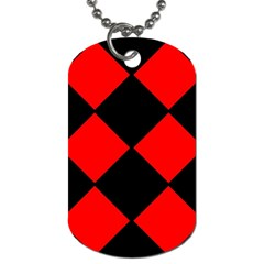 Red Black square Pattern Dog Tag (Two Sides)