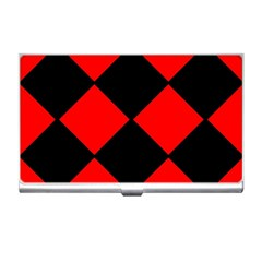 Red Black square Pattern Business Card Holders