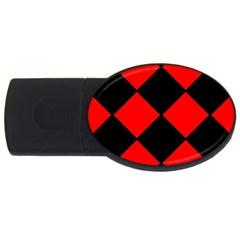 Red Black square Pattern USB Flash Drive Oval (2 GB)