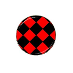 Red Black Square Pattern Hat Clip Ball Marker (4 Pack)