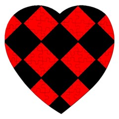 Red Black Square Pattern Jigsaw Puzzle (heart)