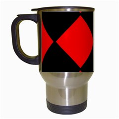 Red Black square Pattern Travel Mugs (White)