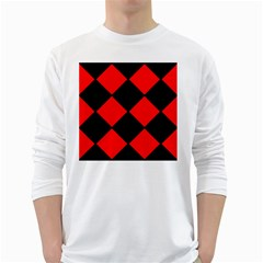 Red Black square Pattern White Long Sleeve T-Shirts