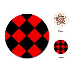 Red Black square Pattern Playing Cards (Round)