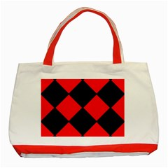 Red Black Square Pattern Classic Tote Bag (red)