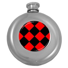 Red Black square Pattern Round Hip Flask (5 oz)