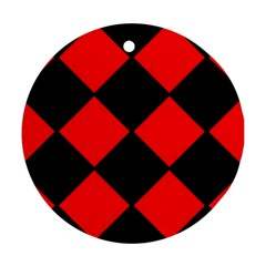 Red Black square Pattern Round Ornament (Two Sides)