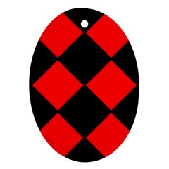 Red Black Square Pattern Oval Ornament (two Sides)