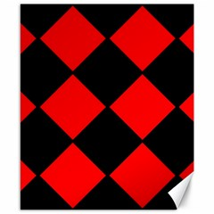 Red Black square Pattern Canvas 8  x 10