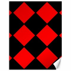 Red Black square Pattern Canvas 12  x 16