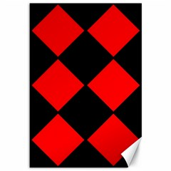 Red Black square Pattern Canvas 12  x 18