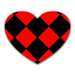 Red Black Square Pattern Heart Mousepads