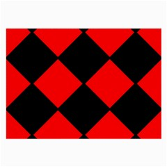 Red Black square Pattern Large Glasses Cloth (2-Side)