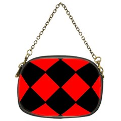 Red Black Square Pattern Chain Purses (one Side)